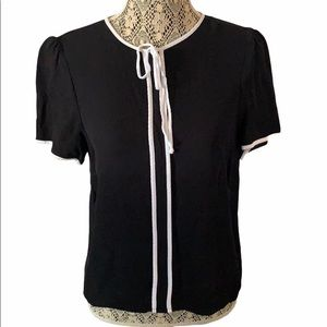Zara Woman Blouse Black With White Piping Large